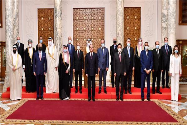 استقبال الرئيس عبد الفتاح السيسي لوزراء ومسئولي الإعلام العرب