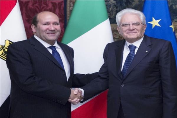 سفير مصر في ايطاليا ورئيس ايطاليا