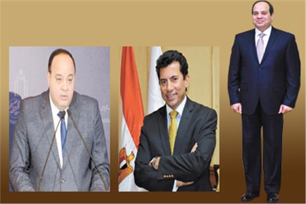 الرئيس عبد الفتاح السيسى  - د. أشرف صبحى -  أحمد جلال