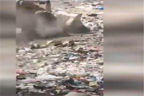 ردم نهر النيل بمخالفات القمامه بلودر مجلس مدينة زفتى