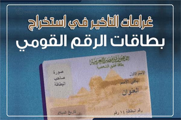 إنفوجراف  غرامات التأخير في استخراج بطاقات الرقم القومي