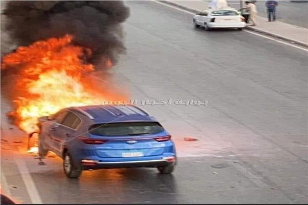 حريق سيارة ملاكي بأكتوبر