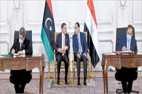 الدبيبة: نسعى للاستفادة من الموارد البشرية المصرية فى إعادة إعمار ليبيا