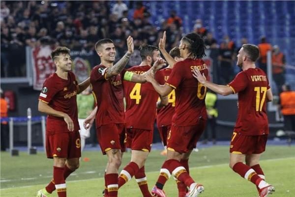 فرحة لاعبي فريق روما الإيطالي