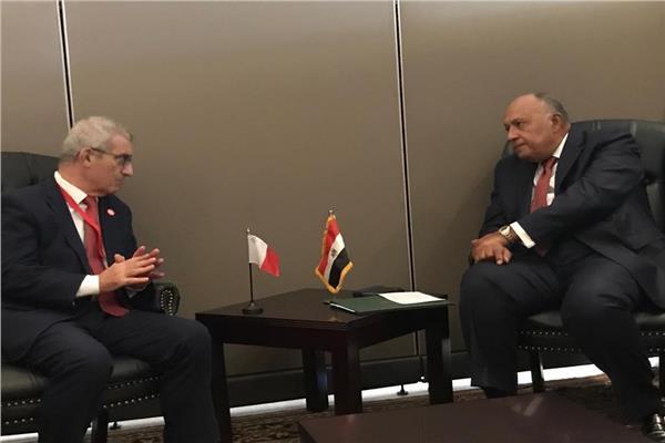 سامح شكري وزير الخارجية خلال لقاءه بوزير الشئون الخارجية والأوروبية المالطي