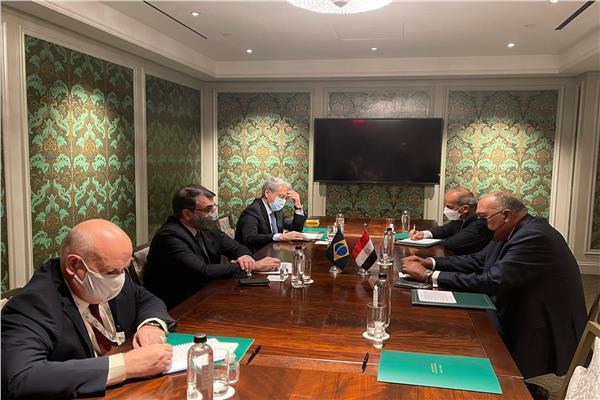 وزير الخارجية ونظيره البرازيلي خلال الاجتماع