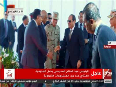 فيديو| لحظة وصول الرئيس السيسي لافتتاح المستشفى العسكري بالمنوفية