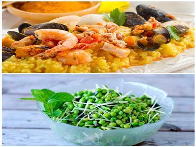 فطارك عندنا| باييلا أسبانية - سلطة البازلاء الخضراء والبصل