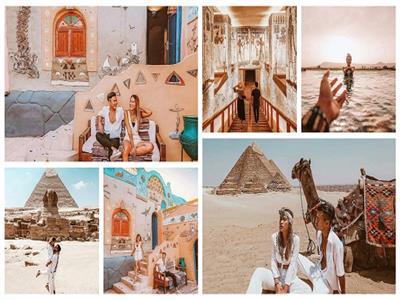 شاهد.. سائح وزوجته في حضرة عظمة التاريخ المصري