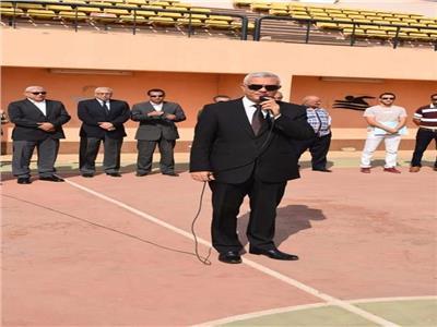 رئيس جامعة المنوفية يشهد تحية العلم بالتربية الرياضية