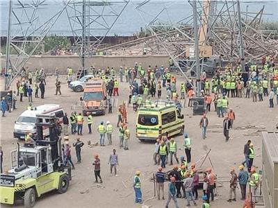 فيديو وصور| اللحظات الأولى لحادث انهيار برج كهرباء أوسيم