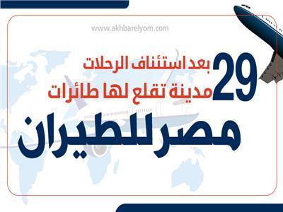 إنفوجراف  بعد استئناف الرحلات.. 29 مدينة تقلع لها طائرات مصر للطيران