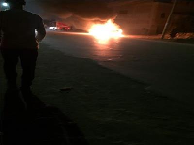حريق سيارة بطريق طنطا بالغربية.. ماس كهربائي السبب