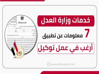 إنفوجراف  «خدمات وزارة العدل»: 7 معلومات عن تطبيق «أرغب في عمل توكيل»