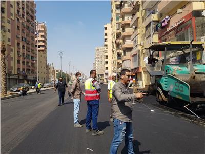 رصف شارع الزعيم السادات في الطالبية بالجيزة | صور