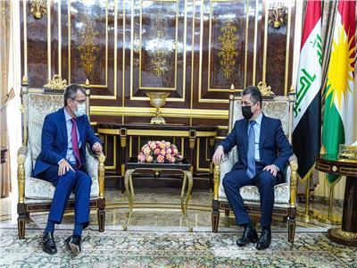 رئيس حكومة كردستان يستقبل الجبوري لمناقشة العلاقات بين أربيل وبغداد