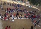 بالصور| «القدس عاصمة فلسطين».. رسالة بأجساد تلاميذ «شطورة» للعالم