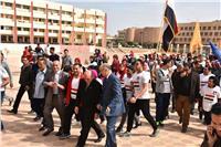 جامعة السادات: تنظم يوم رياضي بشعار أدعم جيشي وشرطة بلادي