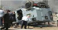 نقل ضابط مصاب في حادث انقلاب مدرعة بطريق السويس لمستشفى الشرطة