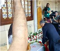 بالصور| البابا تواضروس ورئيس البرتغال يضعان الزهور علي مقصورة شهداء البطرسية