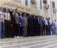 صور| وزير الأوقاف ورئيس جامعة الأزهر يشاركان الطلاب تحية العلم
