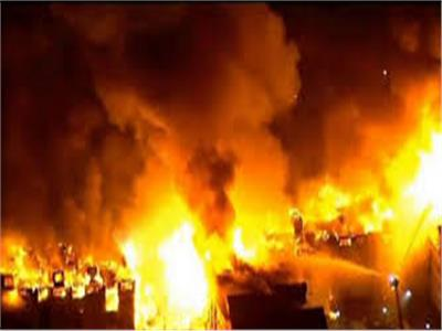حريق هائل بإحدى قرى كوم أمبو في أسوان