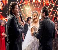 صور| وليد توفيق يتألق في زفاف باسل فطراوي وياسمينا جانودي