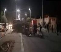 إصابة 8 أشخاص في انقلاب سيارة نصف نقل على طريق بنها الحر