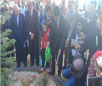 محافظ القليوبية والسفير الياباني يشاركان التلاميذ في زراعة الأشجار بالعبور