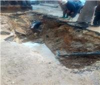 صور| إصلاح كسر بماسورة مياه في مصر الجديدة