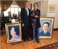 لوحتان لأم كلثوم وعبد الوهاب هدية من فنان مغربي
