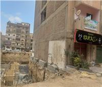 صور  تصدع عقار مأهول بالسكان دون إصابات بالمعصرة