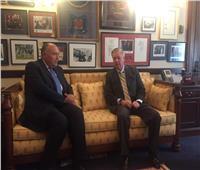 صور| شكري يلتقي «جراهام» و«ماركي» في مجلس الشيوخ و«بالارت» بالنواب