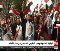 فيديو| الجالية المصرية تحتشد أمام مقر إقامة الرئيس السيسي بواشنطن