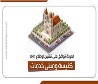 إنفوجراف  الدولة توافق على تقنين أوضاع 894 كنيسة ومبنى خدمات