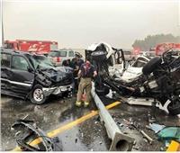 مصرع 5 أشخاص وإصابة 17 في تصادم تريلا وأتوبيس أعلى دائري المرج