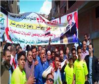 مسيرة حاشدة لتأييد التعديلات الدستورية بشوارع قويسنا