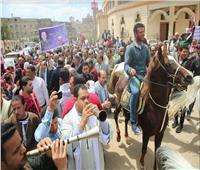 صور| مسيرة «خيول ومزمار» لدعم المشاركة في الاستفتاء بكفر الشيخ