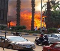 صور| حريق هائل داخل حديقة بشارع الهرم