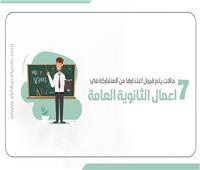 إنفوجراف | 7 حالات يتم خلالها قبول عدم المشاركة في أعمال الثانوية العامة