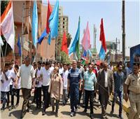 محافظ المنوفية يتقدم المسيرة الشبابية احتفالاً بالعيد القومي للمحافظة