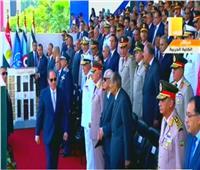لحظة وصول الرئيس السيسي لحضور تخرج دفعة جديدة من الكليات العسكرية