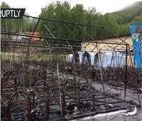 شاهد| اللقطات الأولى لحريق مخيم صيفي للأطفال شرقي روسيا