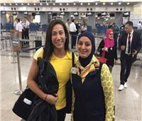 مصر للطيران تستقبل الفراشة الذهبية فريدة عثمان قبل سفرها لواشنطن