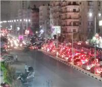 تكدس مروري بشارع مصطفى النحاس بسبب أعمال التطوير