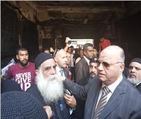 بعد احتراقها| محافظ القاهرة يتفقد كنيسة ماري جرجس بحلوان