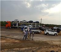صور| انقلاب جرار وتحطم 8 سيارات بطريق مصر الإسكندرية الصحراوي