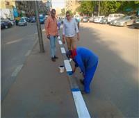 صور| رفع الإشغالات وتطوير الشوارع الرئيسية ودهان الأرصفة بالسيدة زينب
