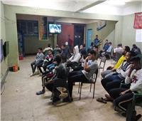 أهالي قرى بالقليوبية يتجمعون بمراكز الشباب لمشاهدة المباراة النهائية