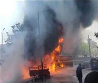 الدفع بـ 8 سيارات إطفاء لإخماد حريق سيارة أعلى الدائري بالخصوص